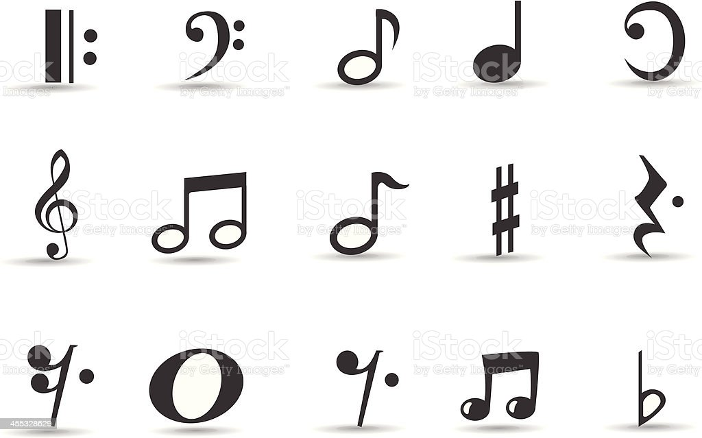 Mobilicious Musical Note Icon Set and Symbols vector art illustration