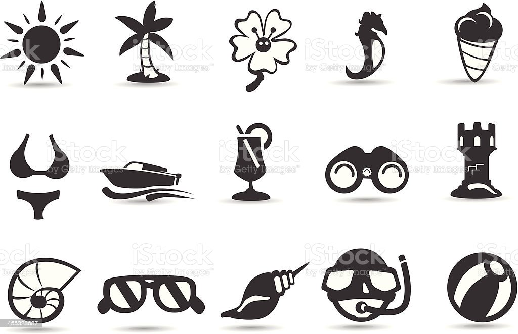 Mobilicious Tropic and Beaches Icon Set royalty-free stock vector art