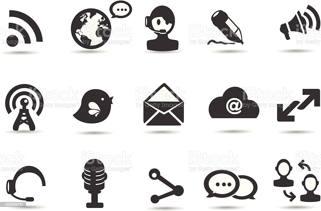 Mobililcious Blogging and Social Network Icons royalty-free stock vector art