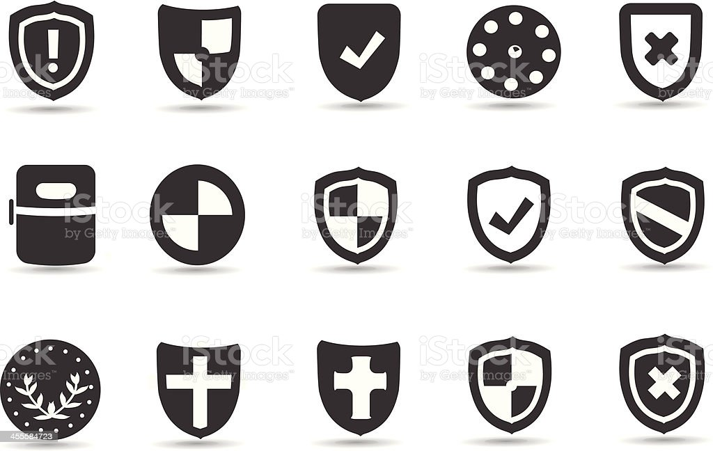 Mobililcious Shield Icons vector art illustration