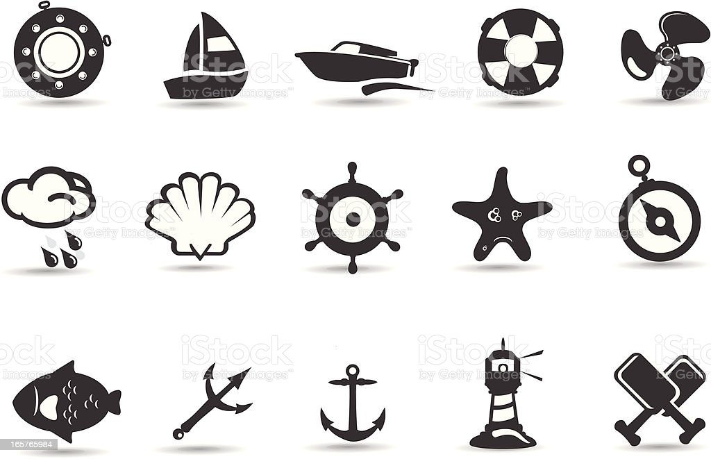 Mobilivious Nautical and Sea Icon Set vector art illustration
