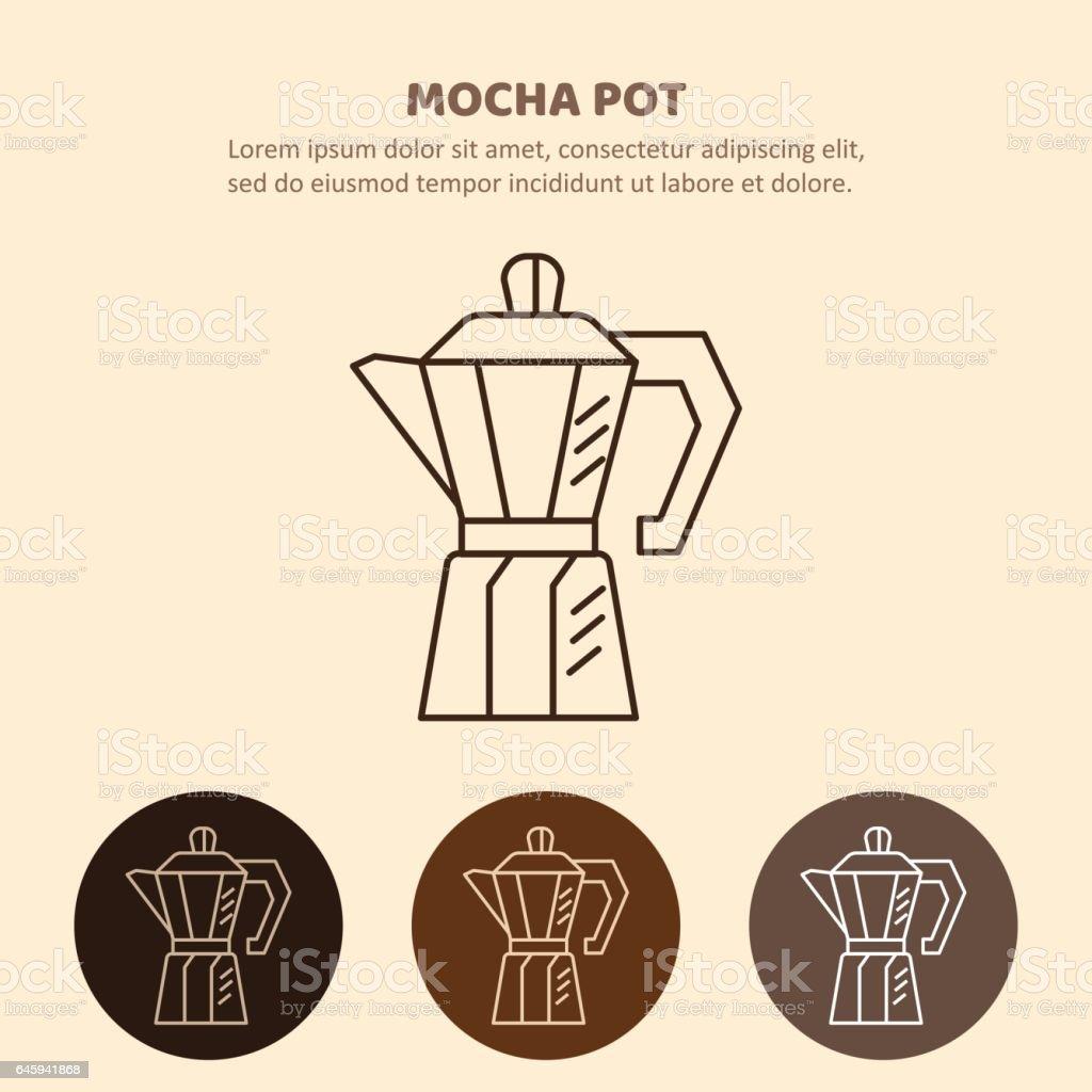 Mocha pot illustration. Household appliances isolated vector art illustration