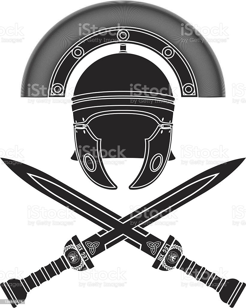 Mockup graphic of Roman helmet and crossed swords royalty-free stock vector art