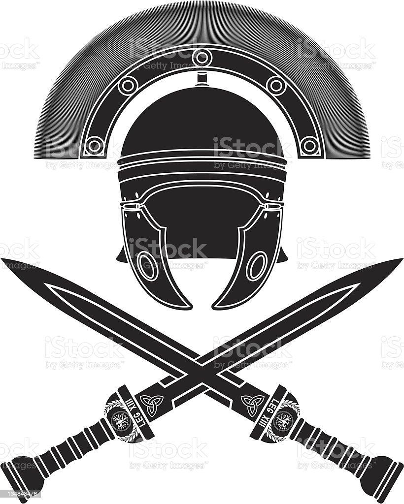 Mockup graphic of Roman helmet and crossed swords vector art illustration