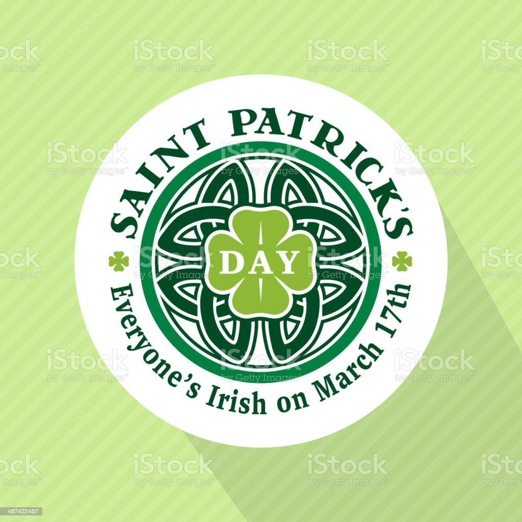 Mockup illustration of Saint Patrick's Day round badge vector art illustration