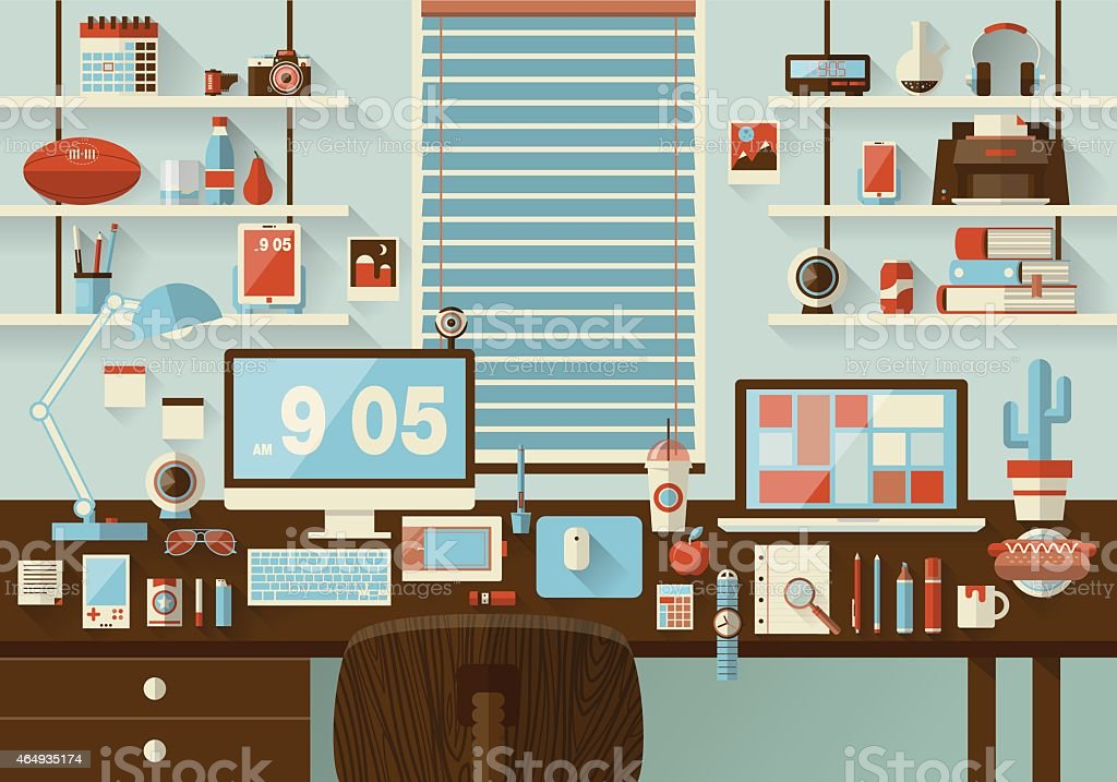 Mockup Vector Design Of Modern Office Interior Royalty Free Stock Art