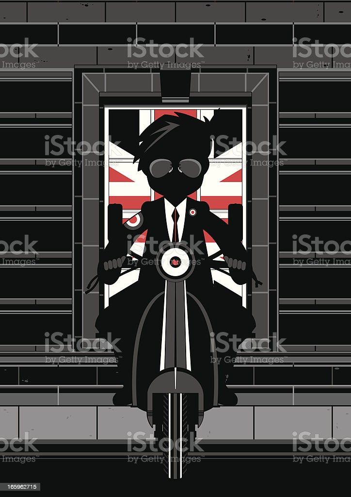 Mod Boy on Scooter Scene royalty-free stock vector art