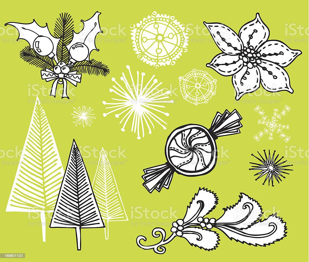 mod doodled holiday set royalty-free stock vector art