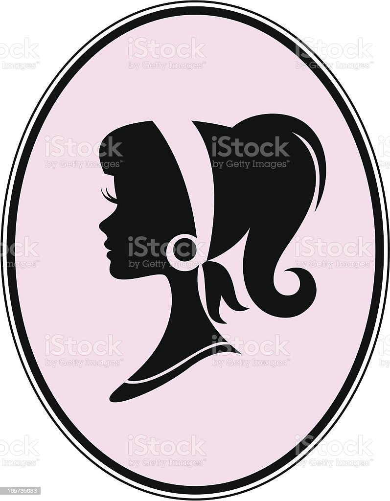 Mod Girl Cameo vector art illustration