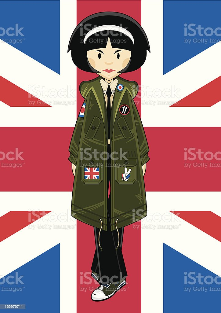 Mod Girl in Park with Union Jack royalty-free stock vector art