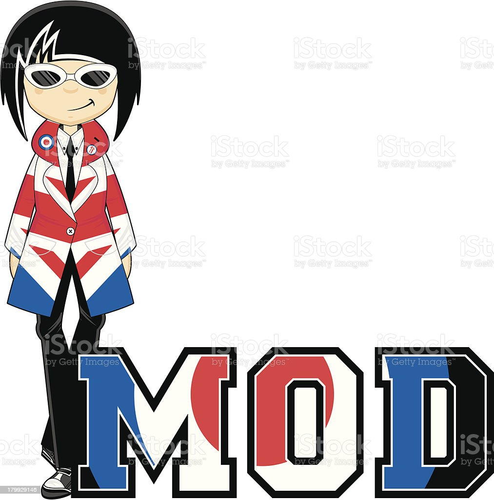 Mod Girl Learn to Read Illustration royalty-free stock vector art