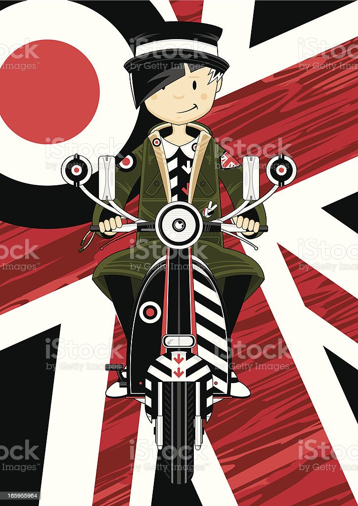 Mod Girl on Retro Scooter royalty-free stock vector art