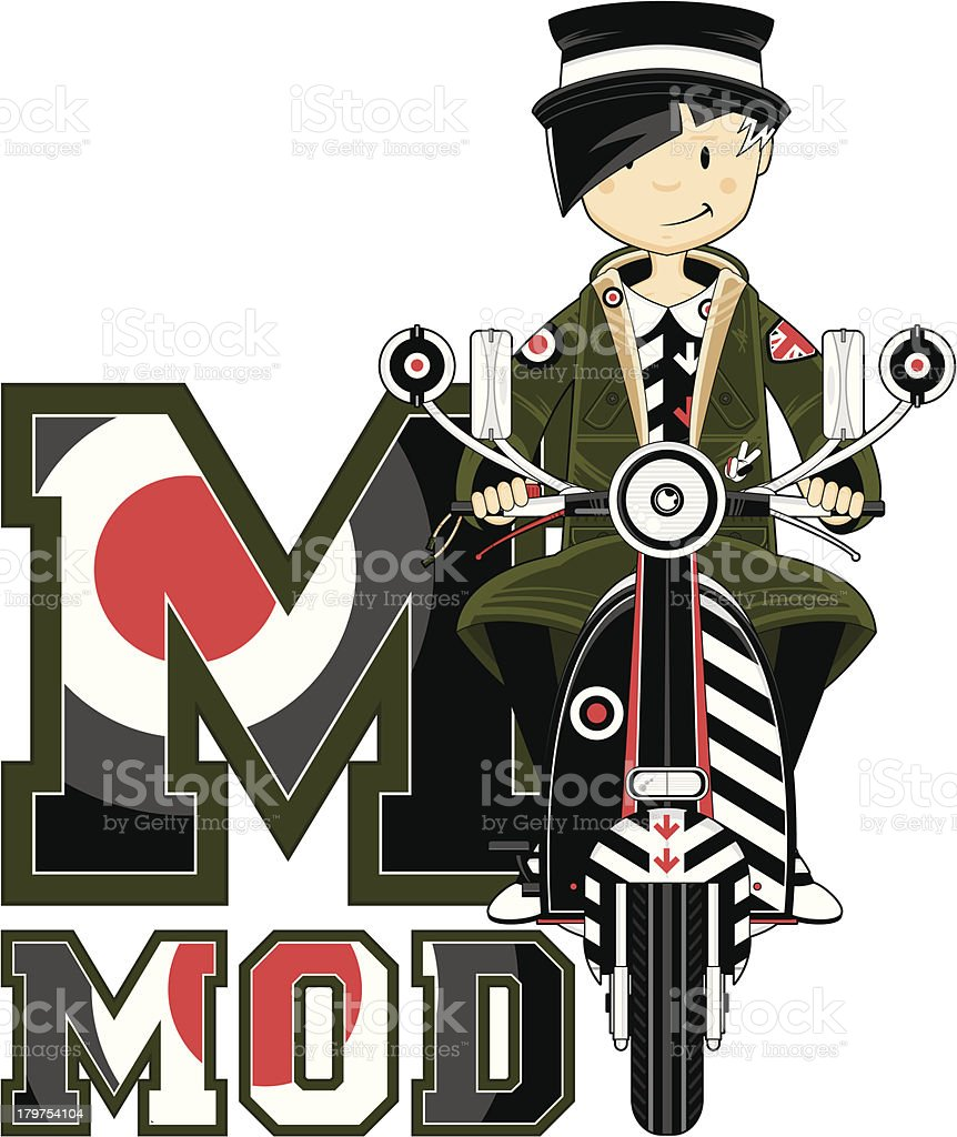 Mod Girl on Scooter Learning Letter M royalty-free stock vector art