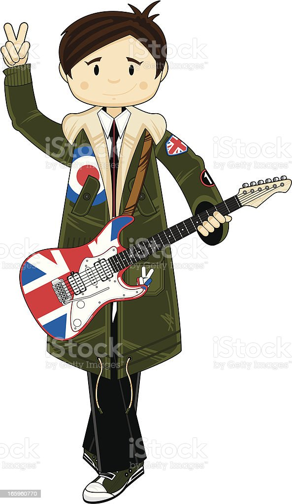Mod in Parka with Union Jack Guitar royalty-free stock vector art