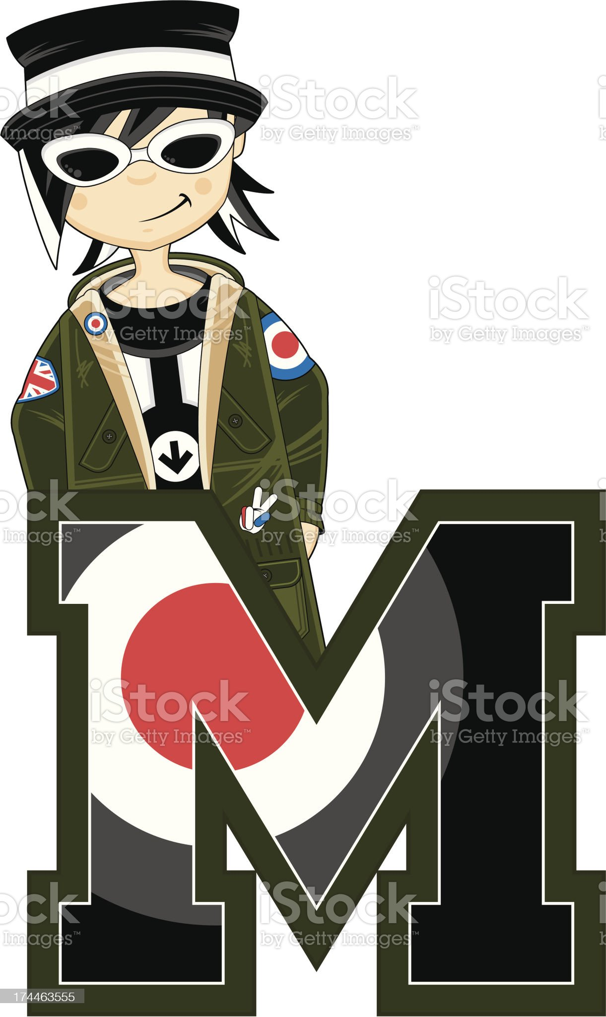 Mod in Shades Learning Letter M royalty-free stock vector art