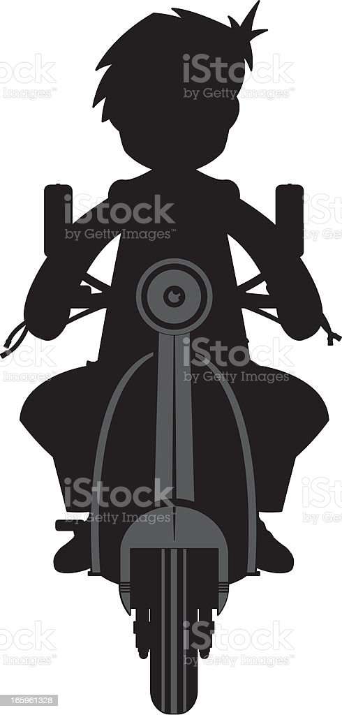 Mod on Scooter in Silhouette vector art illustration