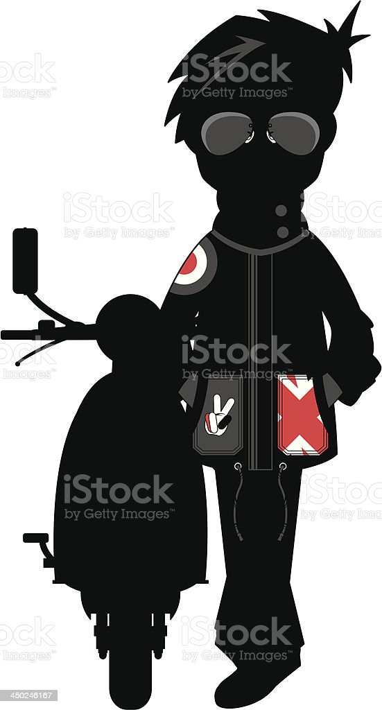 Mod & Scooter Silhouette royalty-free stock vector art