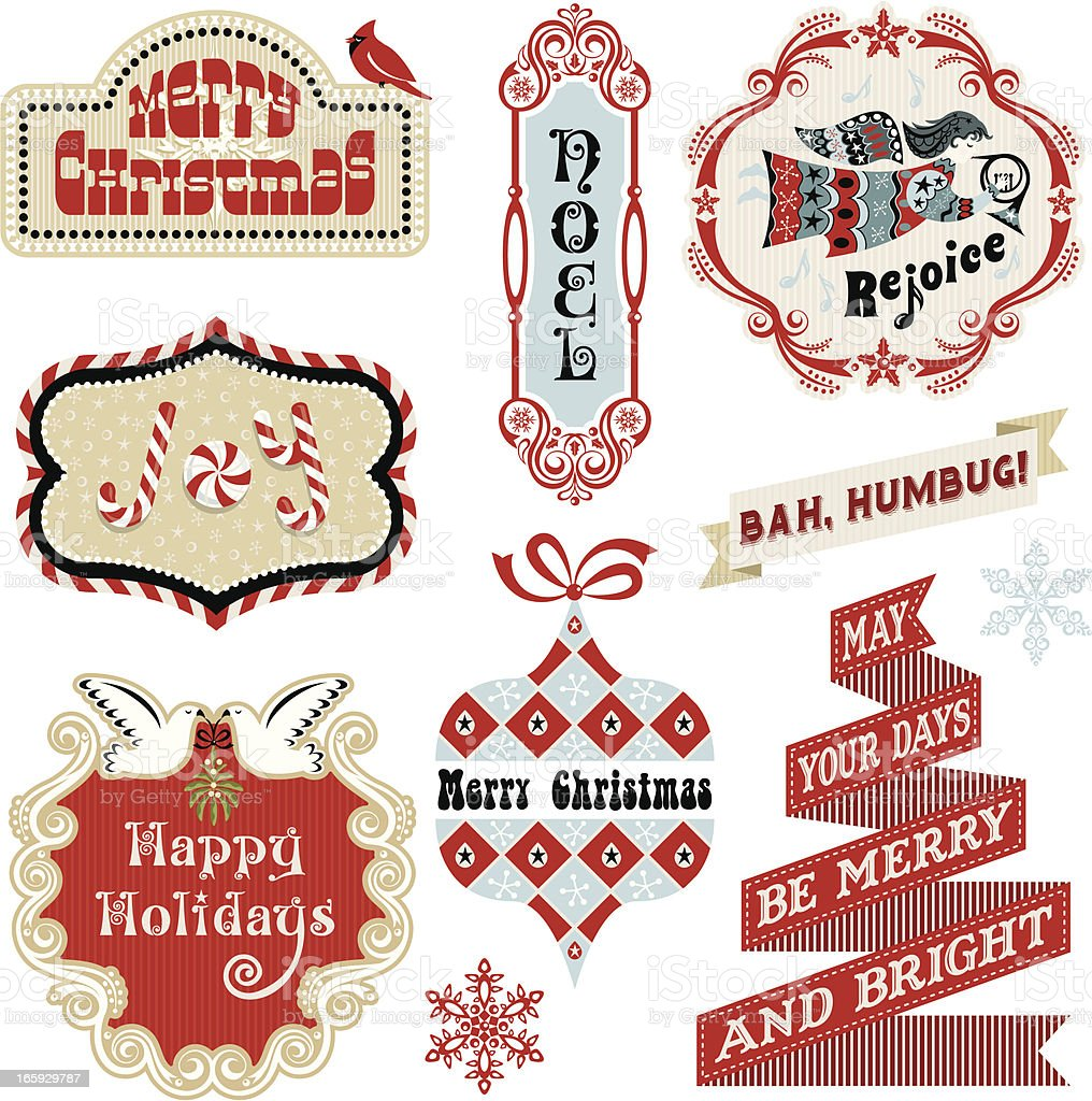 Mod Vintage Christmas Labels royalty-free stock vector art