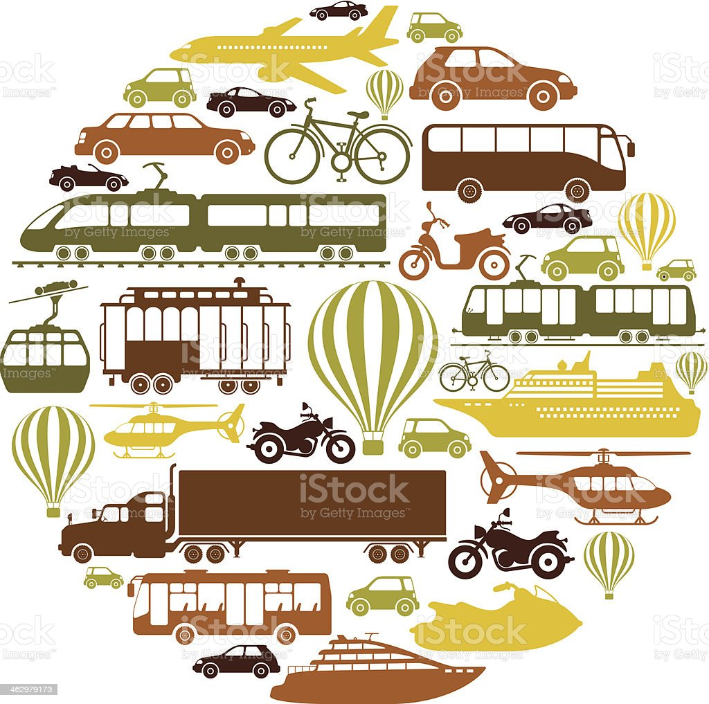 Mode of Transport Collage vector art illustration