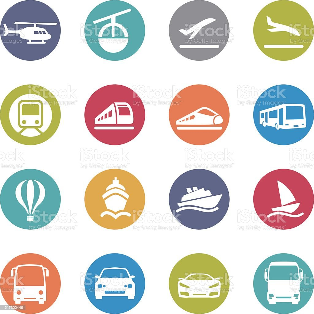 Mode of Transport Icons Set - Circle Series vector art illustration