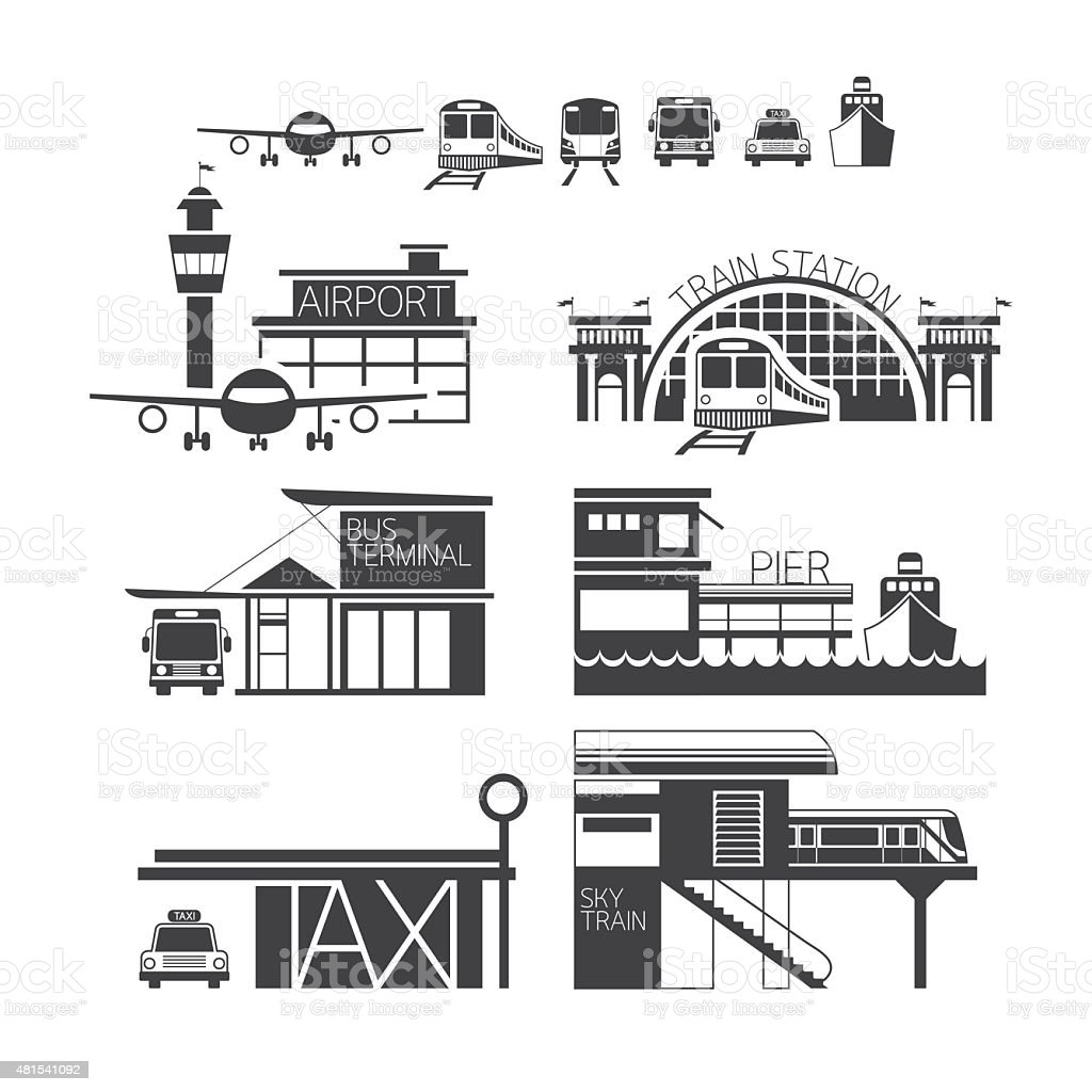 Mode of Transport Illustration Icons Objects Monochrome vector art illustration