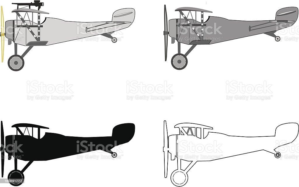 Model airplane retro biplane. royalty-free stock vector art
