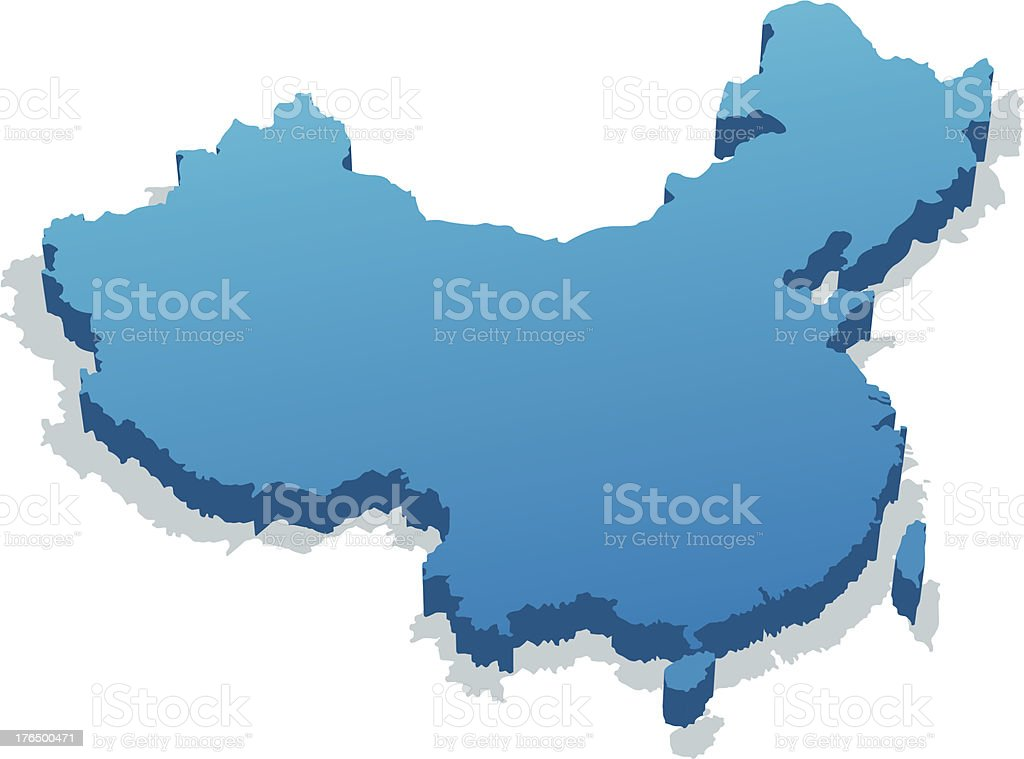 A 3D model of China in blue on a white background vector art illustration