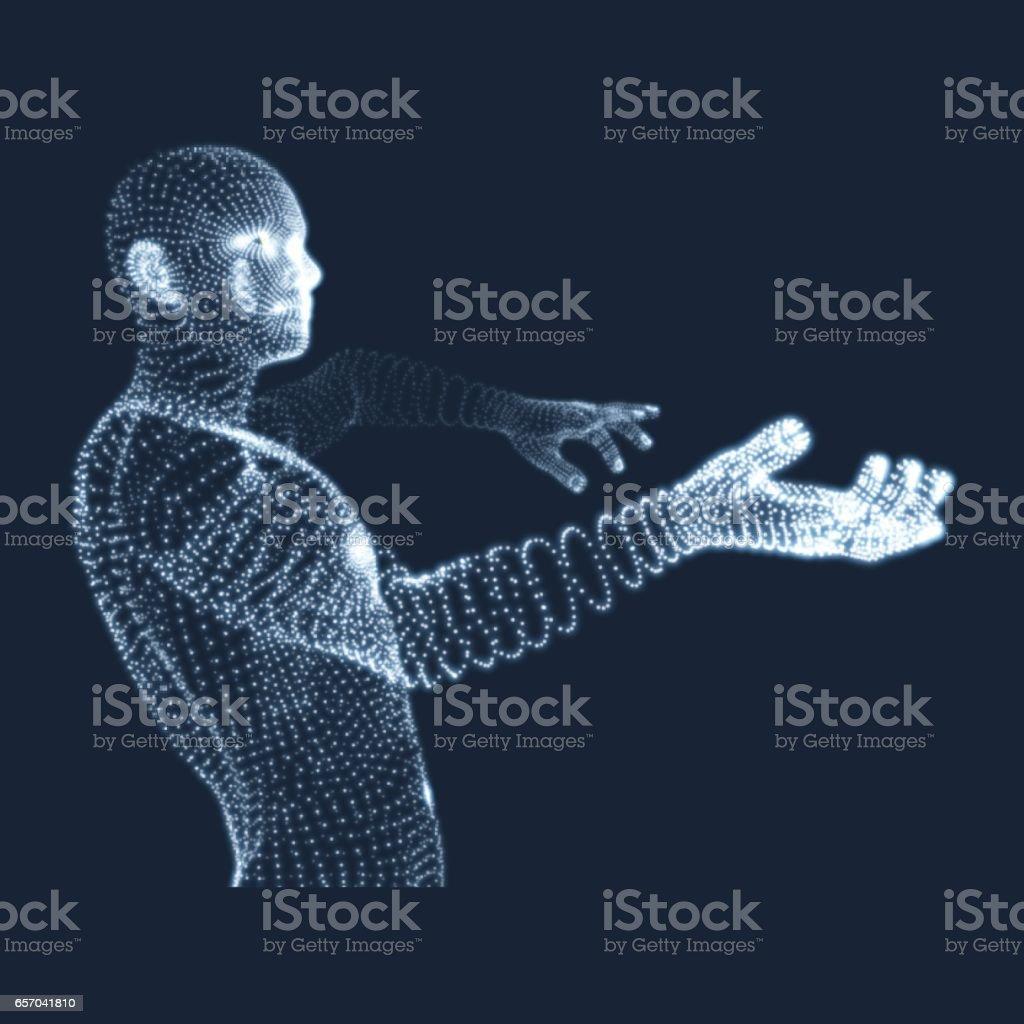 3D Model of Man. Human Body. Design Element. vector art illustration