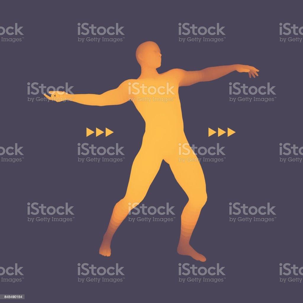 3D Model of Man. Human Body. Design Element. Vector Illustration. vector art illustration