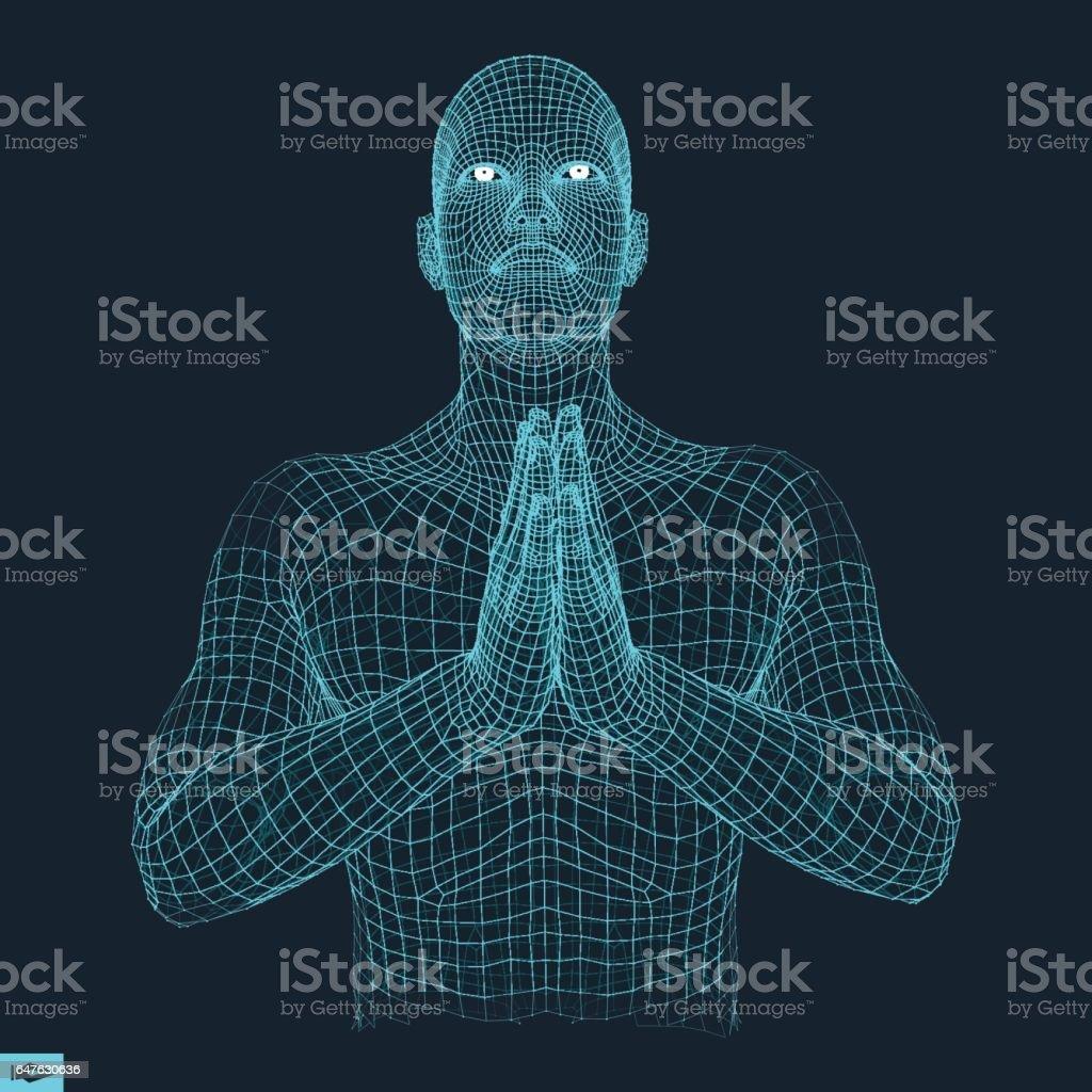3D Model of Man. Man who prays. Concept for Religion. vector art illustration