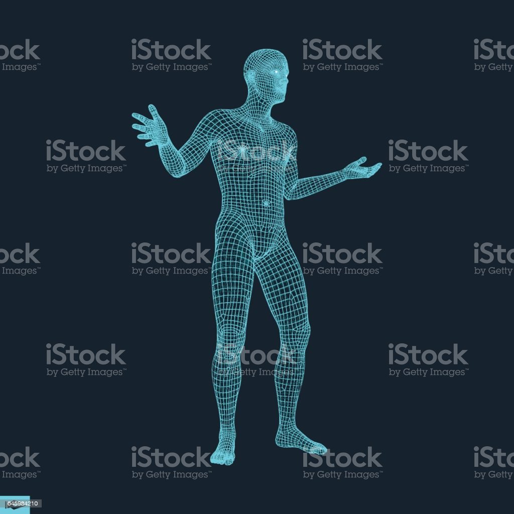 3D Model of Man. Polygonal Design. Geometric Design. vector art illustration