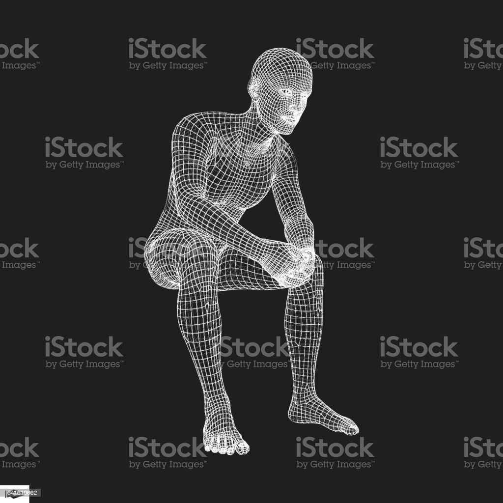 3D Model of Man. Polygonal Design. vector art illustration