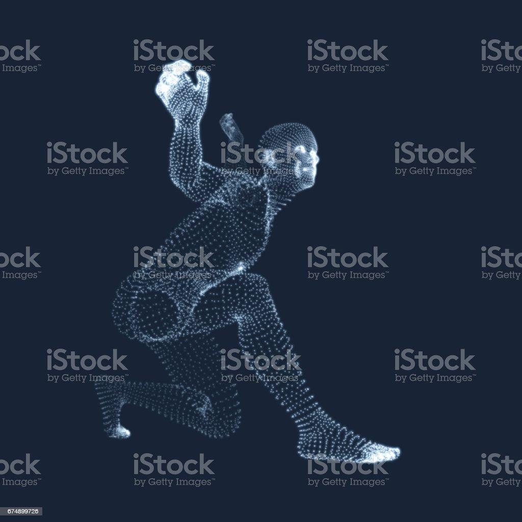 3D Model of Man. Vector Illustration. vector art illustration