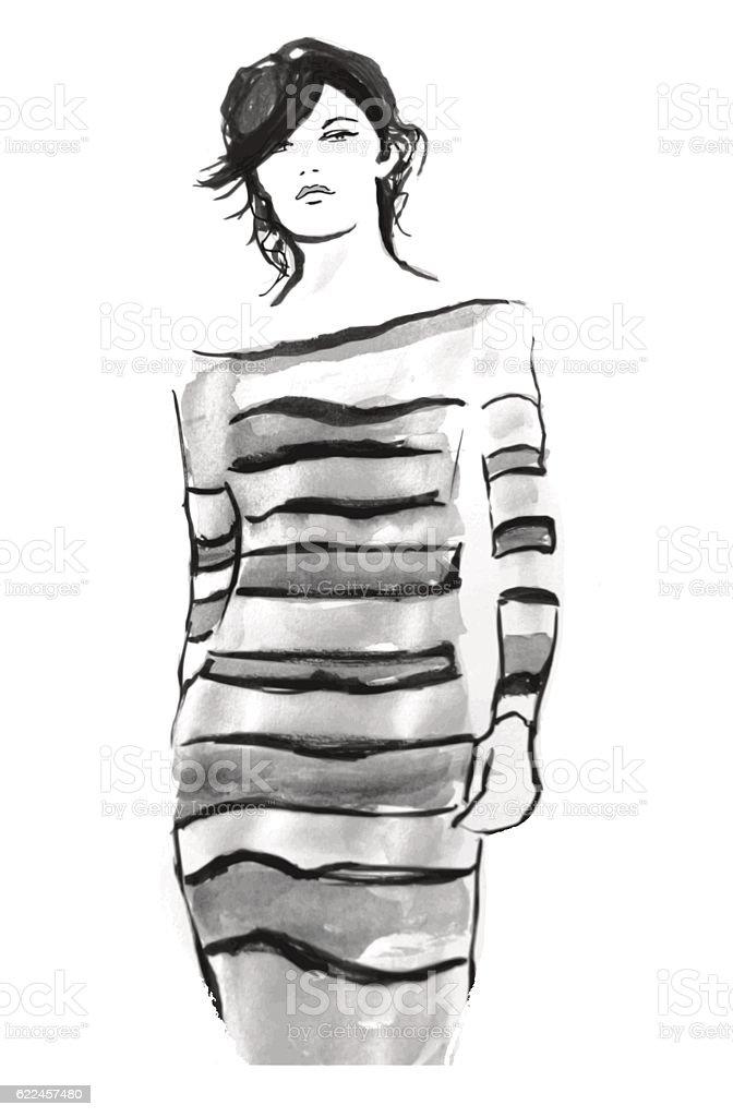 Model on catwalk vector art illustration