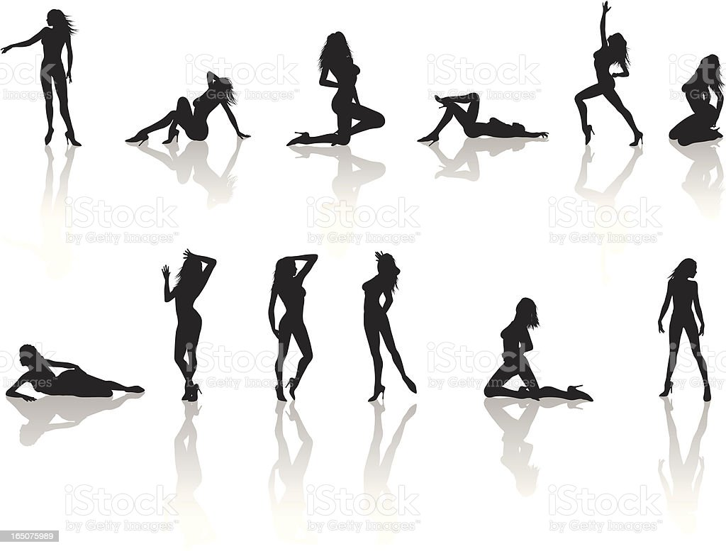 Model Silhouette Collection vector art illustration