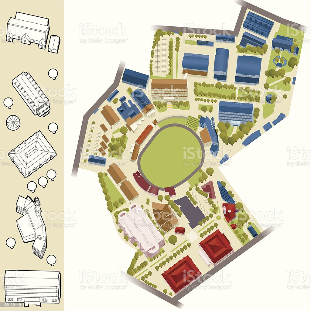 Model Village - Sports Arena vector art illustration