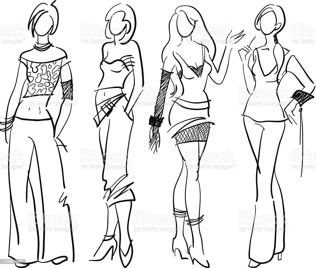 Models - sketchy style vector art illustration