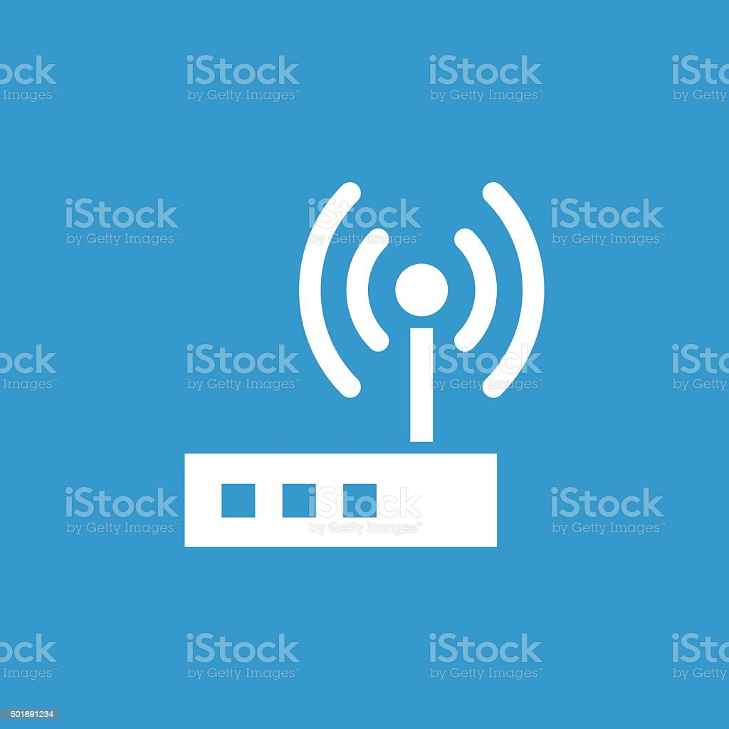 modem icon, isolated, white on the blue background vector art illustration