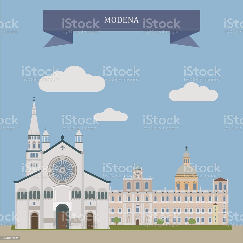 Modena, city in Italy vector art illustration
