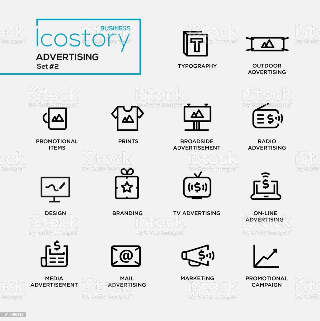 Modern advertising simple thin line design icons, pictograms set vector art illustration