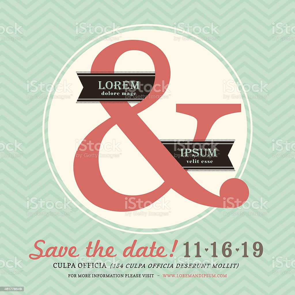 Modern Ampersand Wedding invitation with chevron background template royalty-free stock vector art