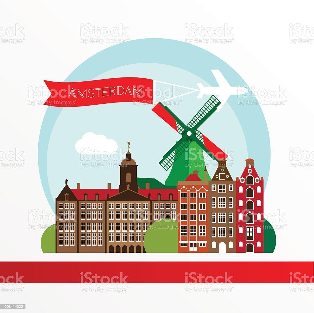 Modern Amsterdam city Skyline Design. Netherlands vector art illustration