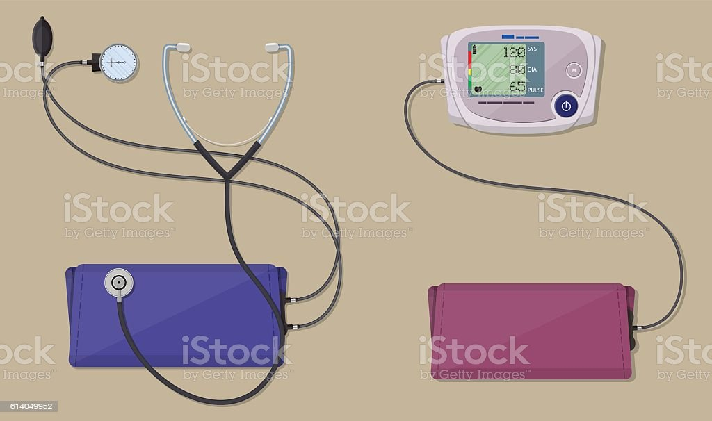 modern and classic blood pressure measuring vector art illustration