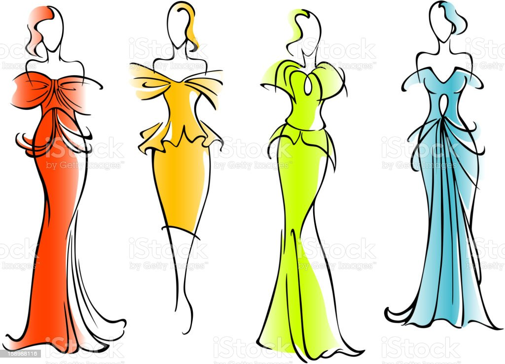 Modern and elegant dresses royalty-free stock vector art