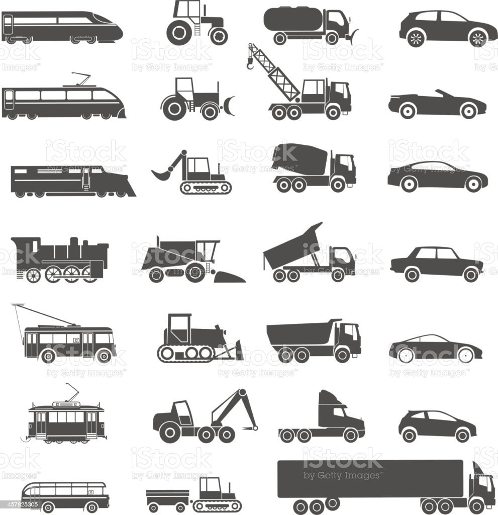 Modern and retro transport silhouettes vector art illustration