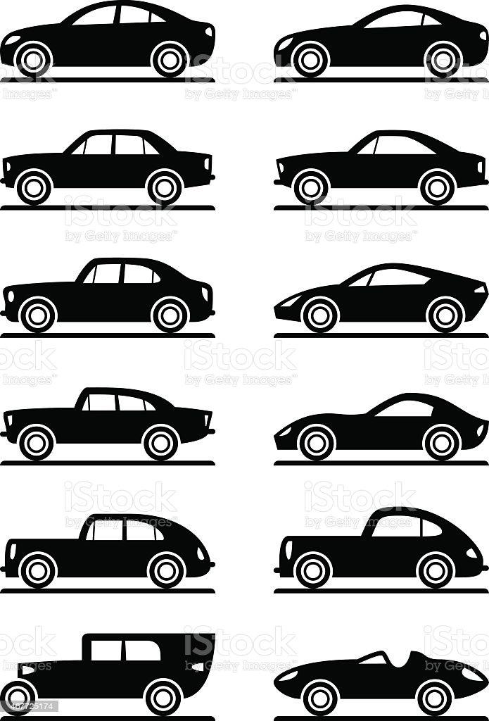 Modern and vintage cars vector art illustration