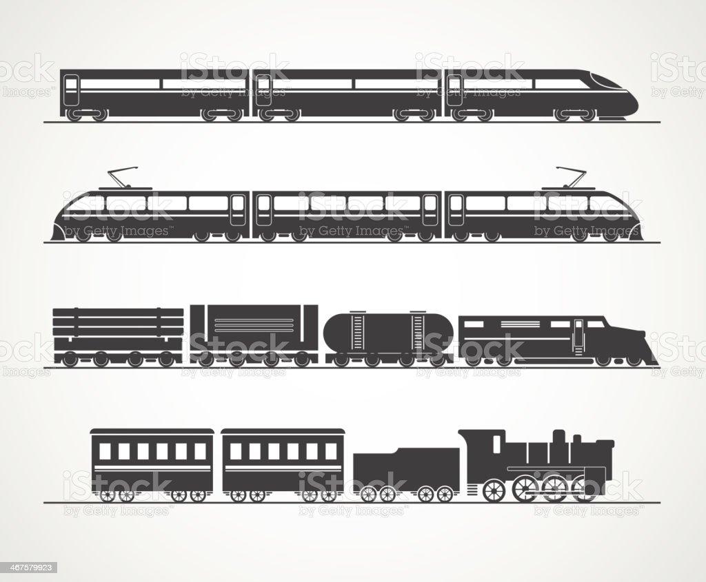 Modern and vintage train silhouette vector art illustration