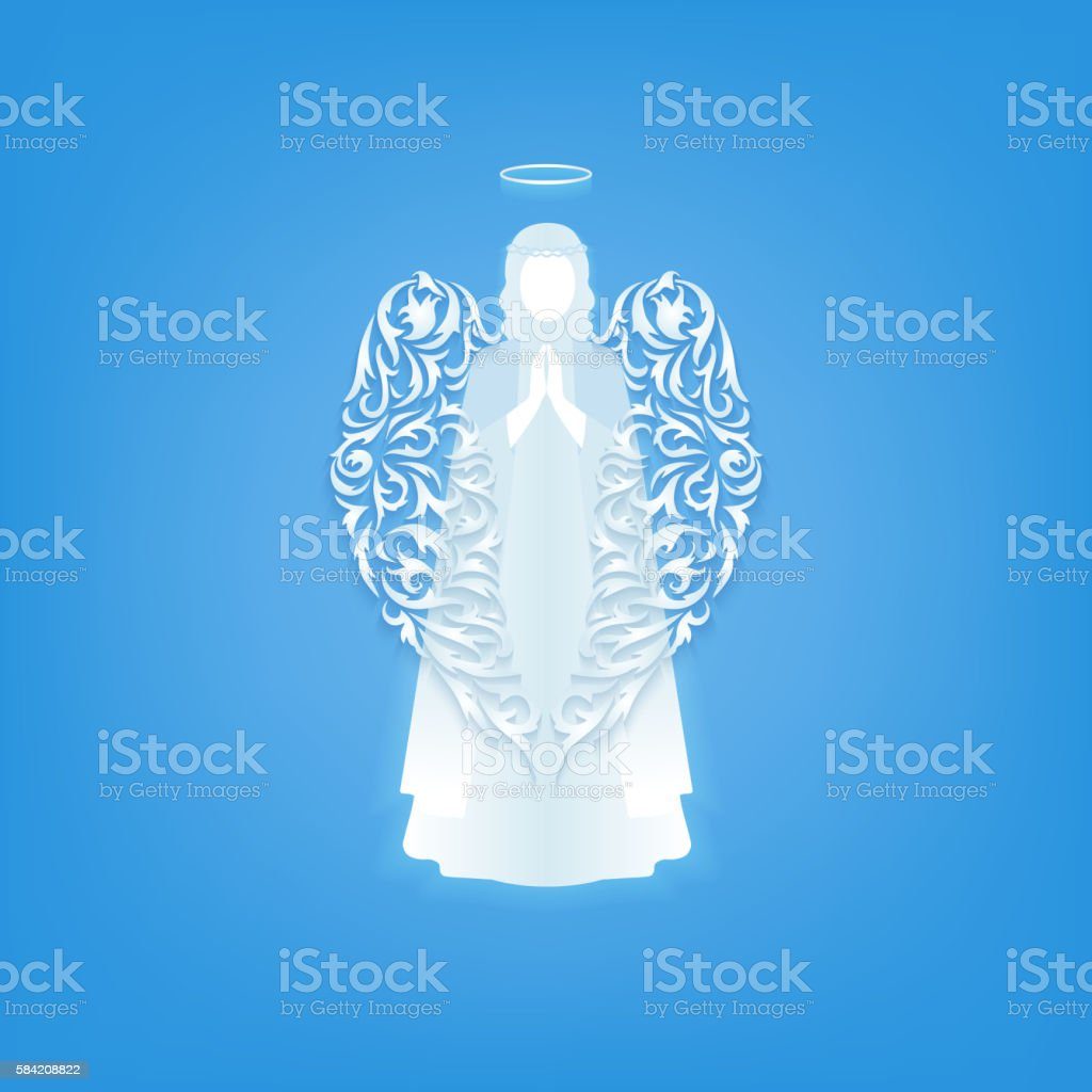 Modern angel silhouette with ornamental wings. vector art illustration