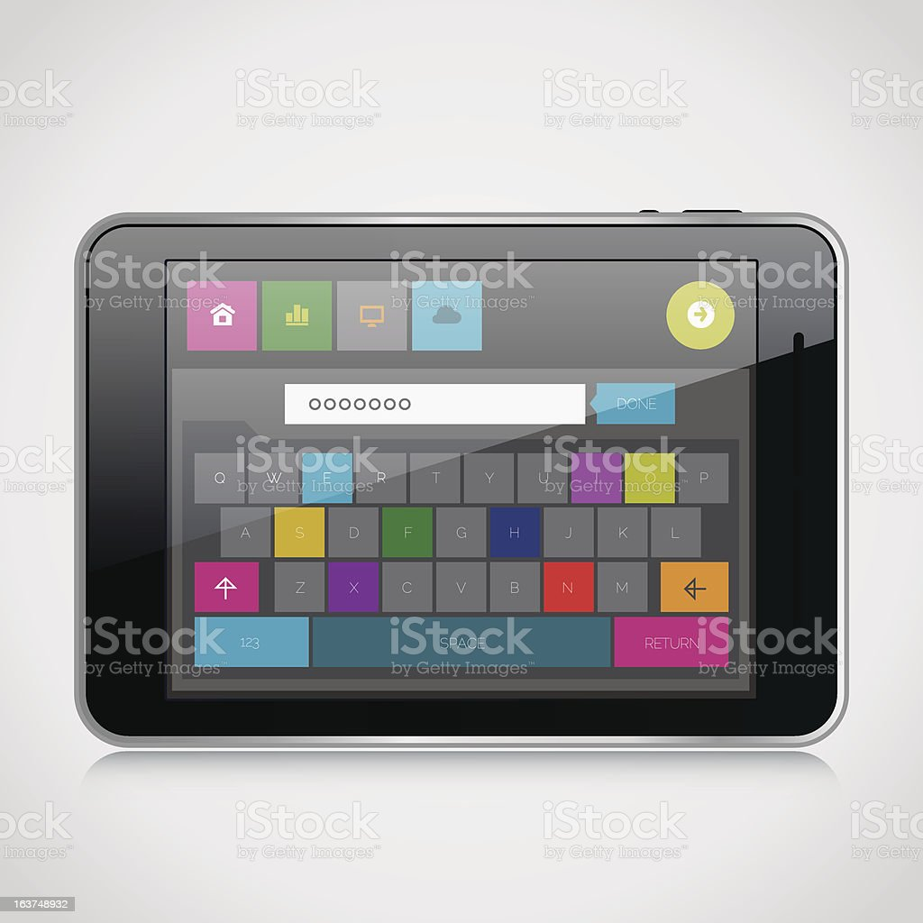 Modern application with keyboard royalty-free stock vector art