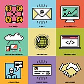 Modern Assorted Global Business Color Icon Set.